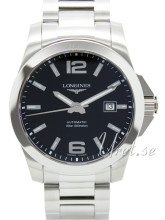 Longines Conquest Sort/Stål