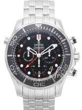 Omega Seamaster Diver 300m Co-Axial GMT Chronograph 44mm Sort/St