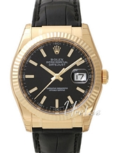 Rolex Datejust Black Dial Leather Yellow Gold