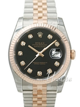 Rolex Datejust Black Dial Jubilee Bracelet Diamond