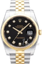 Rolex Datejust Black Dial Yellow Gold / Steel Jubilee Bracelet D